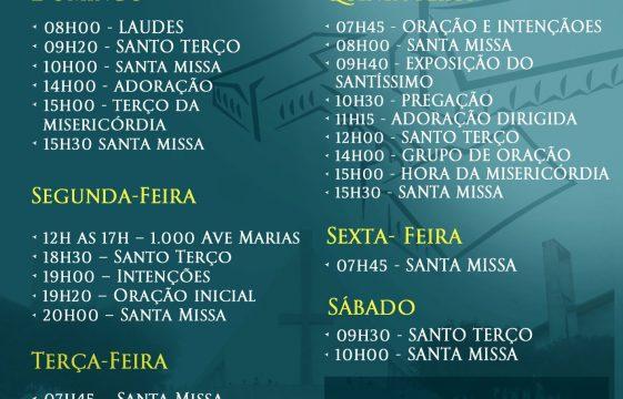 Agenda Semanal do Santuário de Fátima